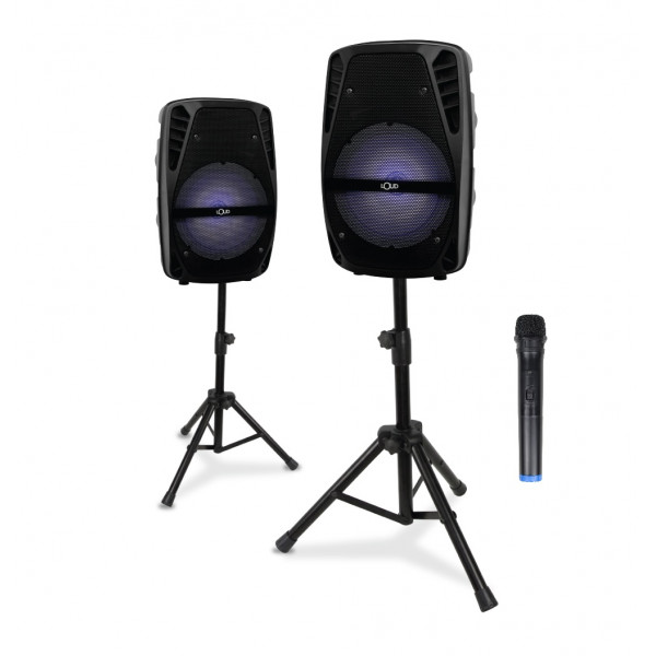 """True Wireless Stereo - Twin Paired 8"""" Portable Speakers Black"""
